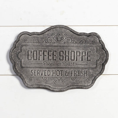 Aged Grey Metal Coffee Shoppe Sign