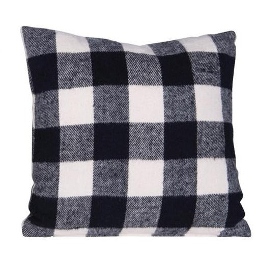 Brushed Cotton Black & White Plaid Pillow-Seasonal-Buffalo Check-A Cottage in the City