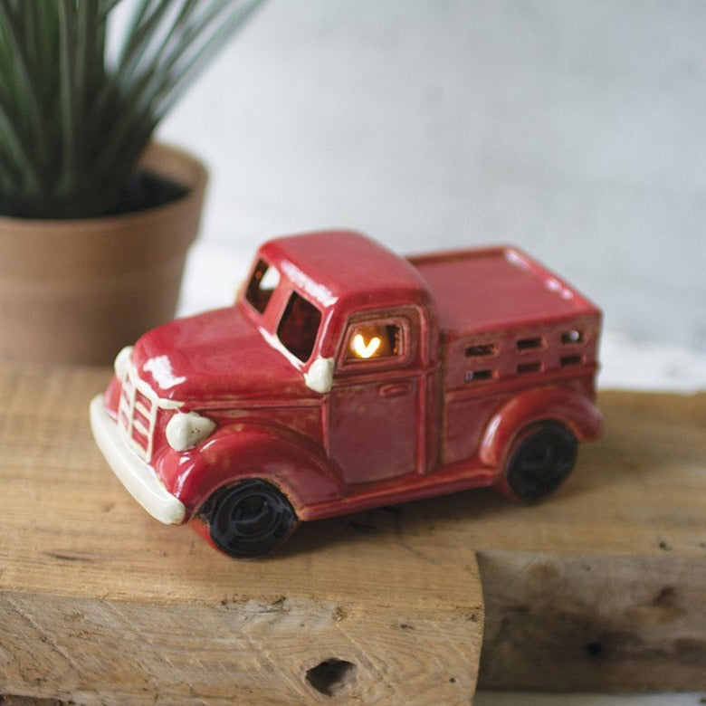 Ceramic Red Truck Night Light-Furniture-A Cottage in the City