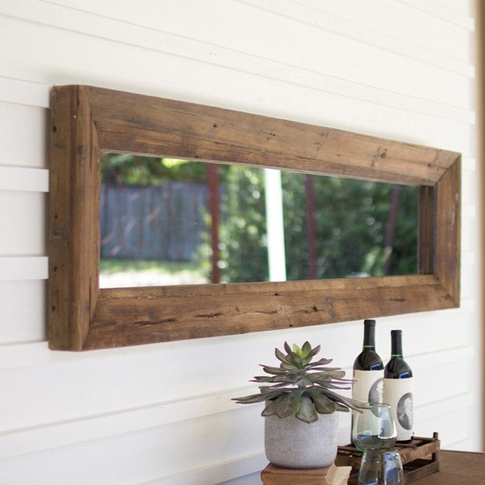 Long Rectangle Reclaimed Wood Mirror-Decor-A Cottage in the City