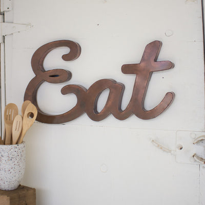 Antiqued Copper Eat Sign