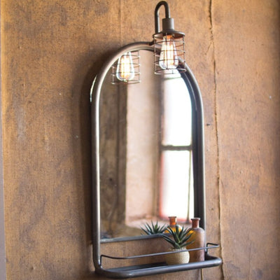Metal Wall Mirror With Shelf & Caged Light