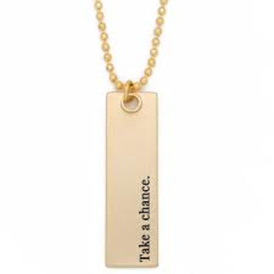 Take A Chance Bar Pendant Necklace