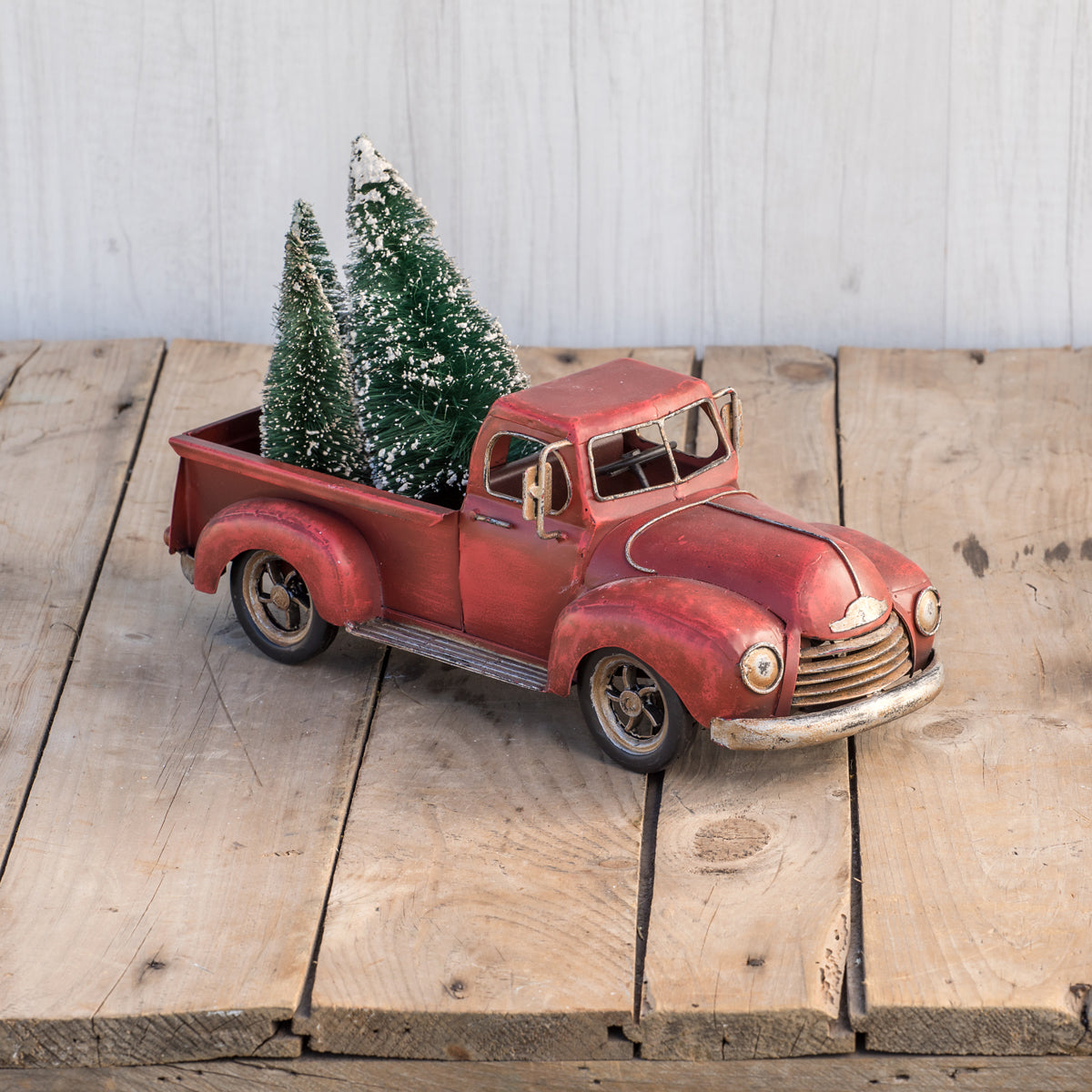 Vintage Red Metal Pickup Truck-Decor-A Cottage in the City