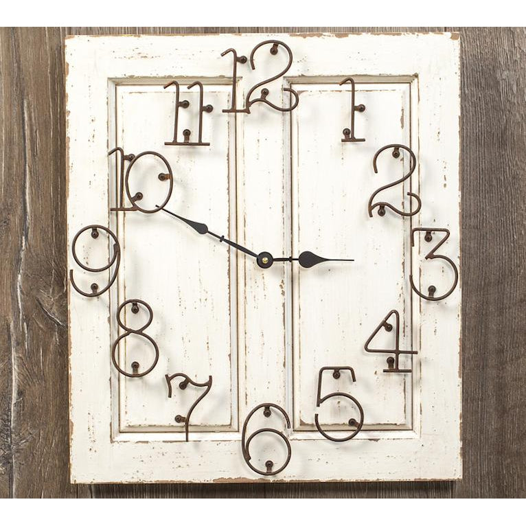 White Wood Panel Clock-Decor-A Cottage in the City
