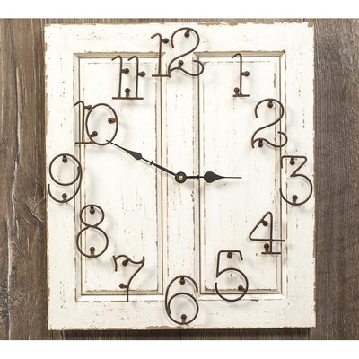 White Wood Panel Clock