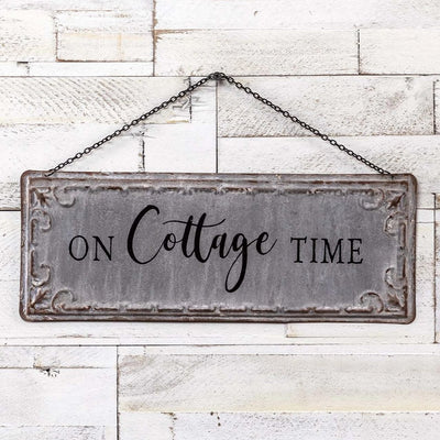 On Cottage Time Metal Sign