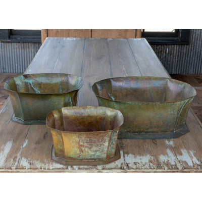 Flared Patina Metal Planter