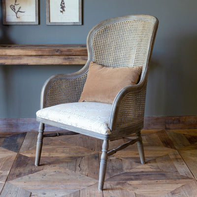 Cane Back Accent Chair With Pattern Seat S/2
