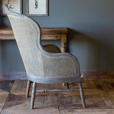 Cane Back Accent Chair With Pattern Seat S/2-Furniture-A Cottage in the City