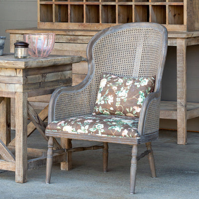 Cane Back Accent Chair With Vintage Floral Seat S/2