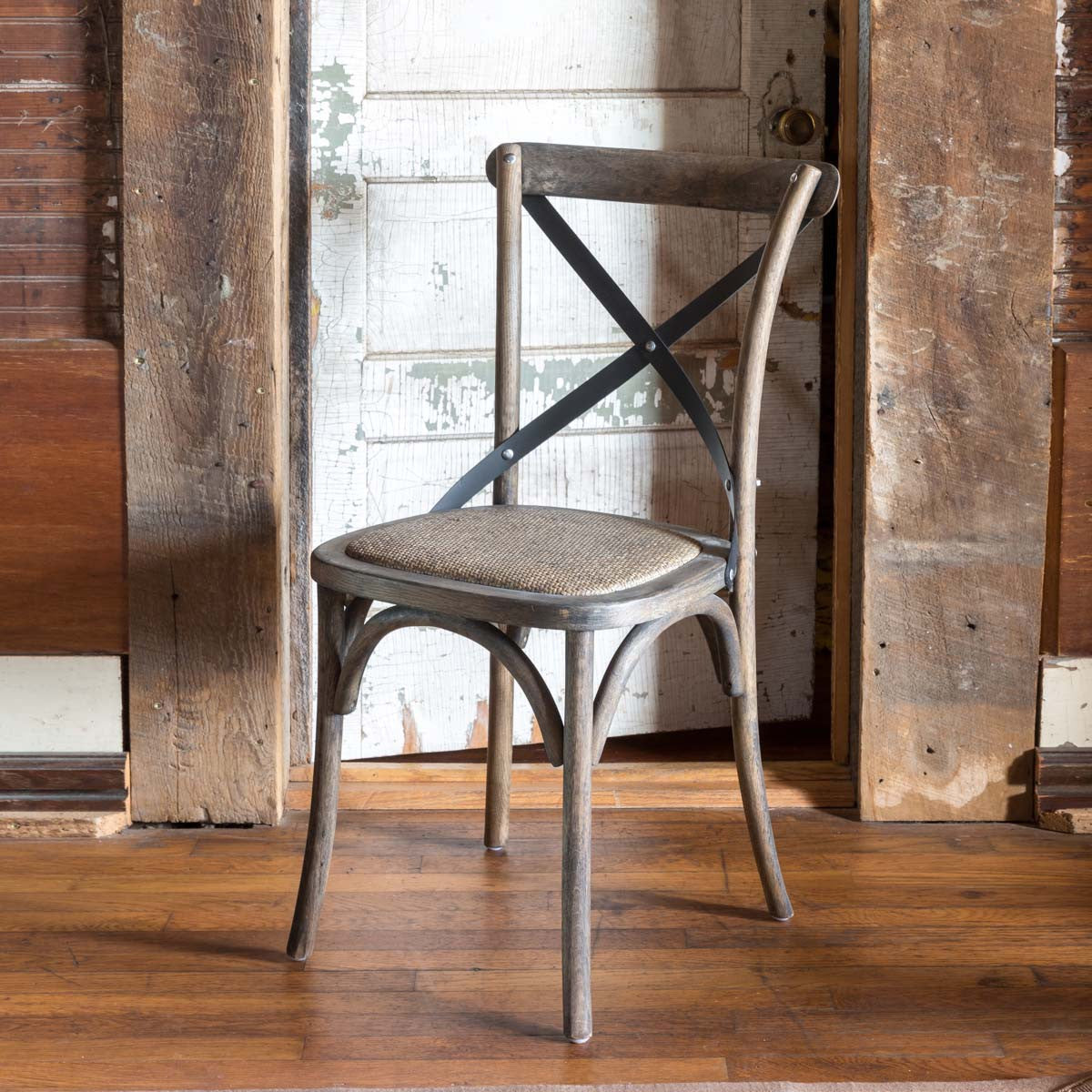 Metal Cross Back Wood Chair-Furniture-A Cottage in the City