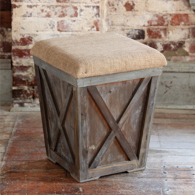 Town & Country Stool With Burlap Cushion