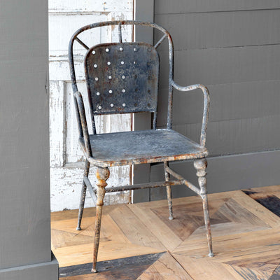 Aged Black Cafe Arm Chair S/2