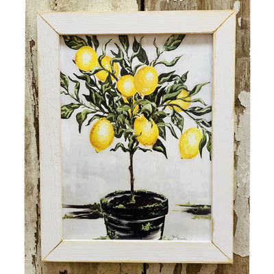 Lemon Tree Rustic White Framed Print