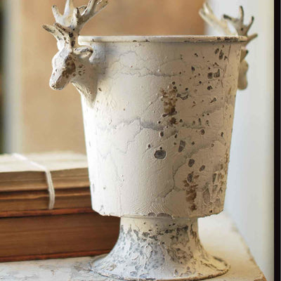 Distressed Cream Stag Urn
