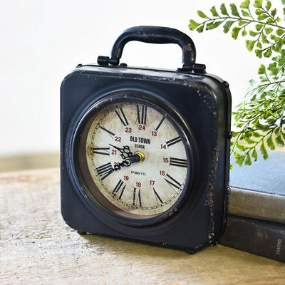 Old Black Suitcase Clock