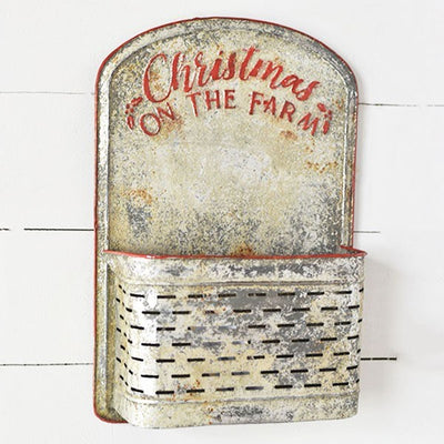 Rusty Christmas On The Farm Metal Wall Pouch