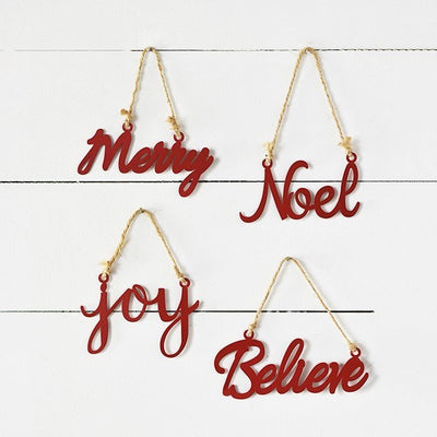 Scripted Red Metal Holiday Sign