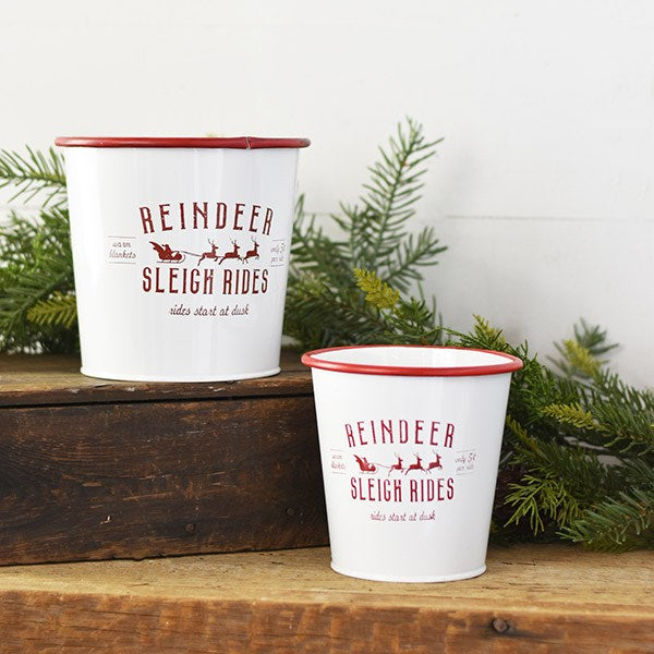Enamel Reindeer Sleigh Rides Bucket-Seasonal-A Cottage in the City