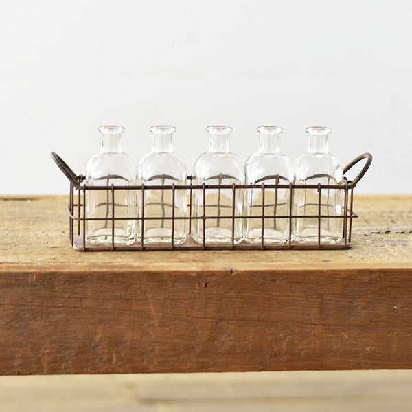 Wire Tray With Glass Bottles-Decor-A Cottage in the City