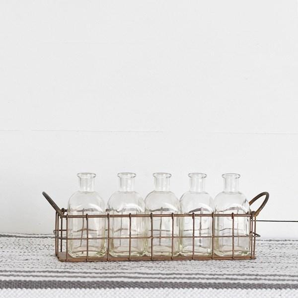 Copper Wire Tray With Glass Bottles-SIMPLE-A Cottage in the City