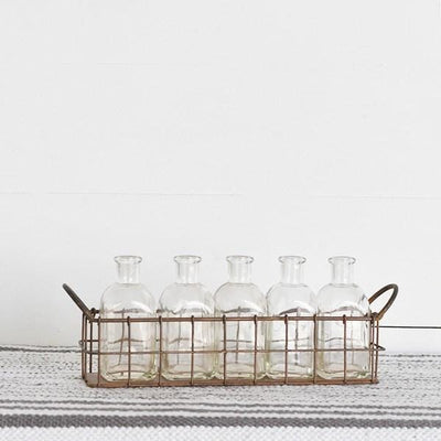 Copper Wire Tray With Glass Bottles