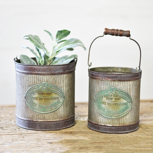 Old Tin Garden Pail With Wood Handle-Storage-A Cottage in the City