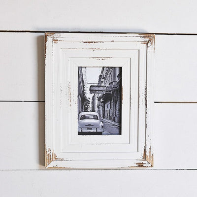 Distressed White Layered Wood Frame