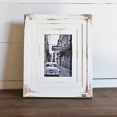 Distressed White Layered Wood Frame-Decor-A Cottage in the City