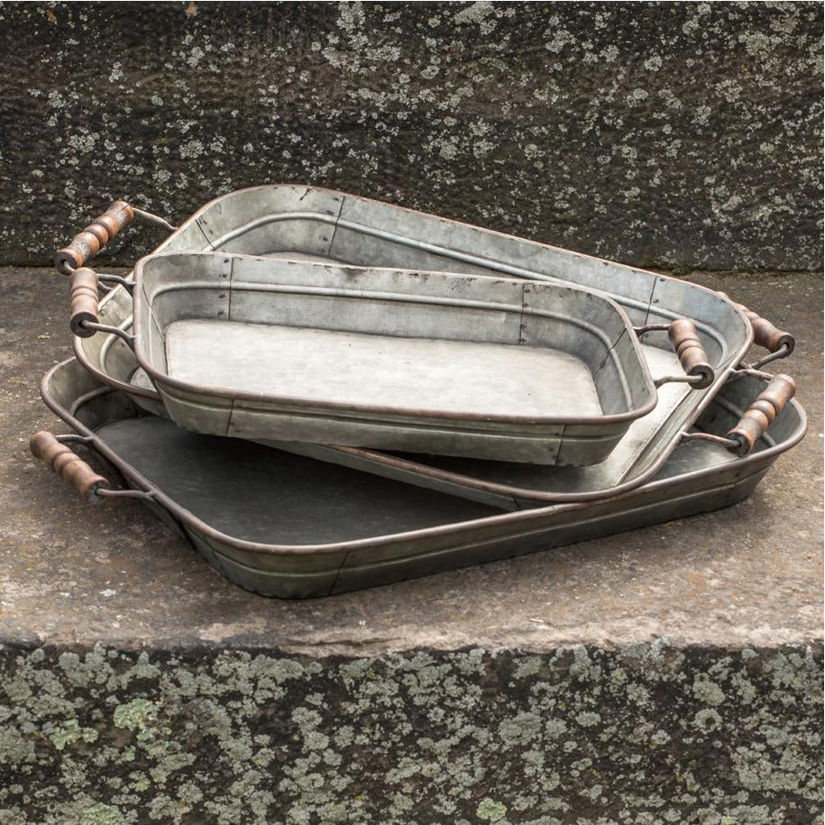 Galvanized Metal Tray With Wood Handles-Storage-A Cottage in the City