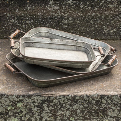 Galvanized Metal Tray With Wood Handles