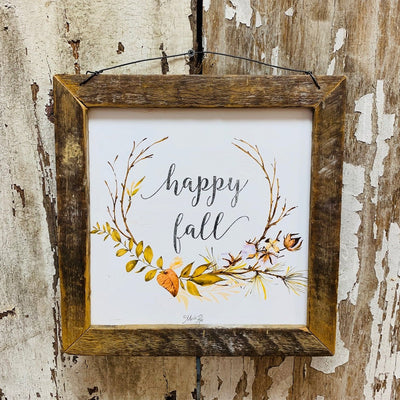Happy Fall Rustic Framed Print