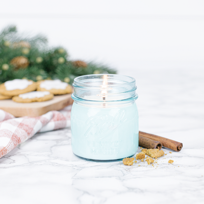 Blue Mason Jar Homemade Gingerbread Candle 8oz