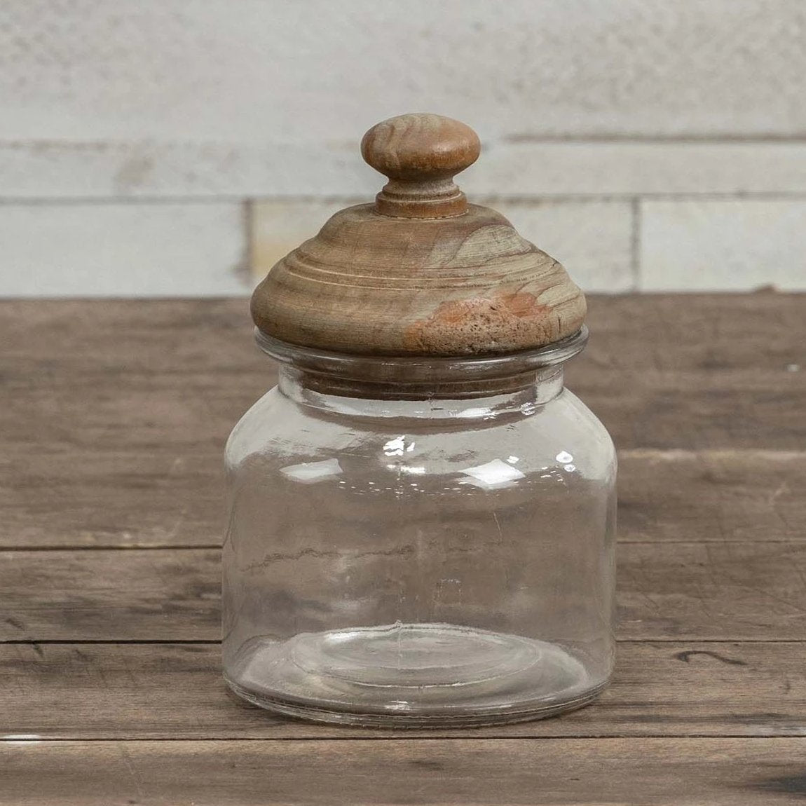 Glass Canister With Aged Wood Lid-Storage-Small-A Cottage in the City