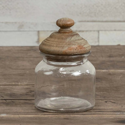 Glass Canister With Aged Wood Lid