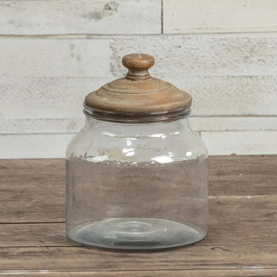 Glass Canister With Aged Wood Lid-Storage-Medium-A Cottage in the City