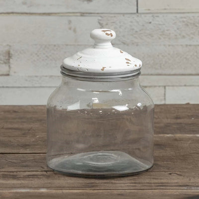 Glass Canister With Aged White Wood Lid-Storage-Medium-A Cottage in the City