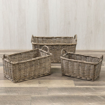 Grey Washed Wicker Basket