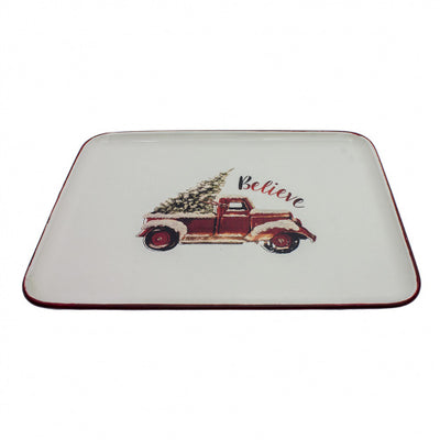 Red Truck Christmas Tree Enamel Tray