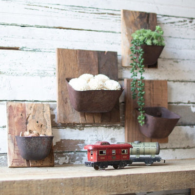 Repurposed Wood & Metal Wall Bucket Plaque