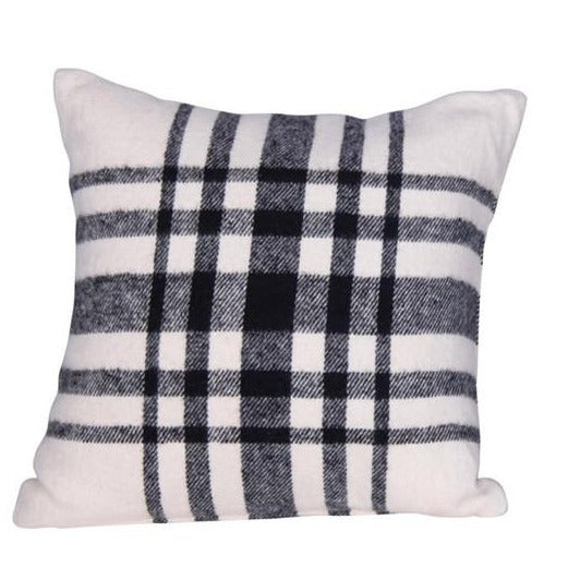 Brushed Cotton Black & White Plaid Pillow-Seasonal-Plaid-A Cottage in the City