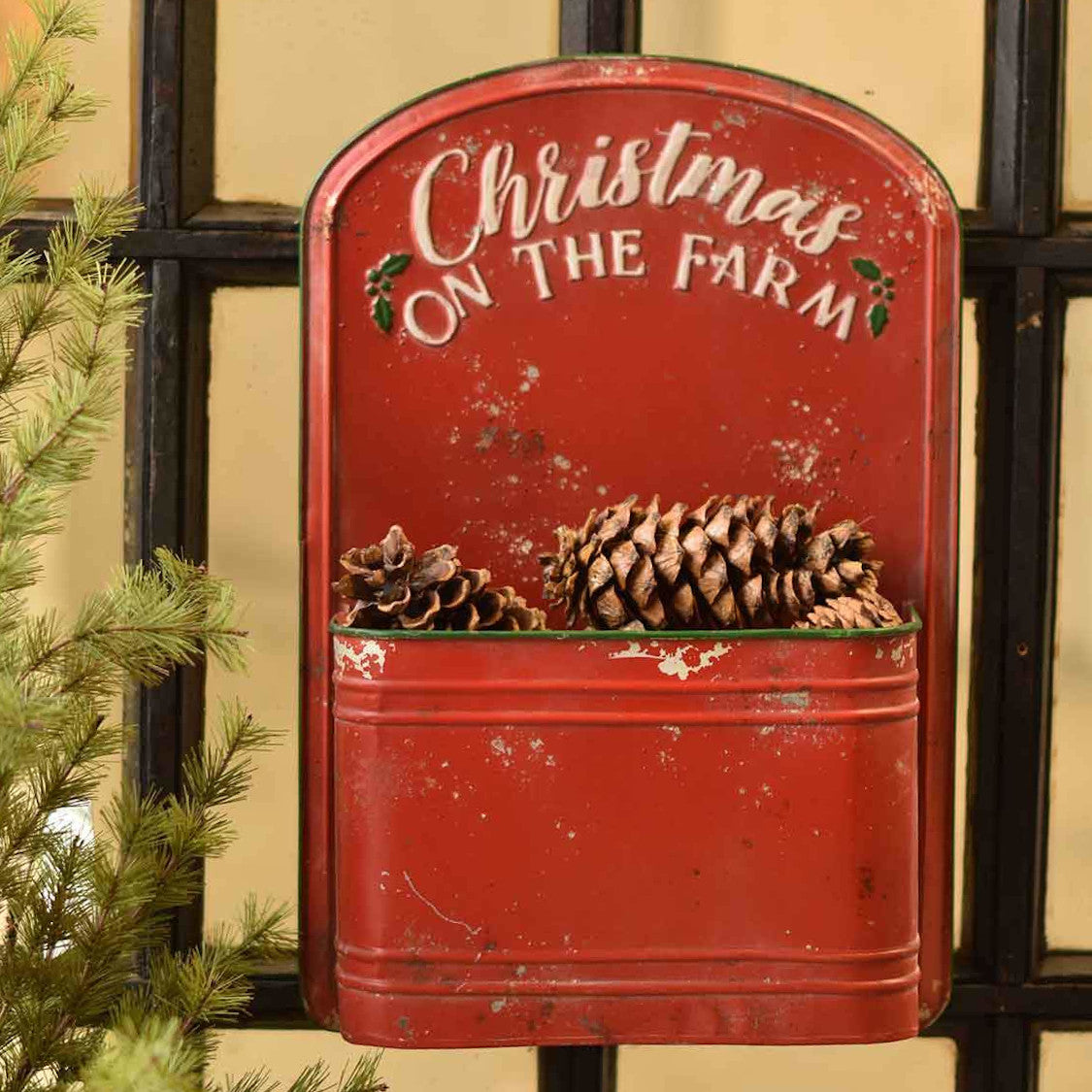 Red Christmas On The Farm Metal Wall Pouch-Seasonal-A Cottage in the City