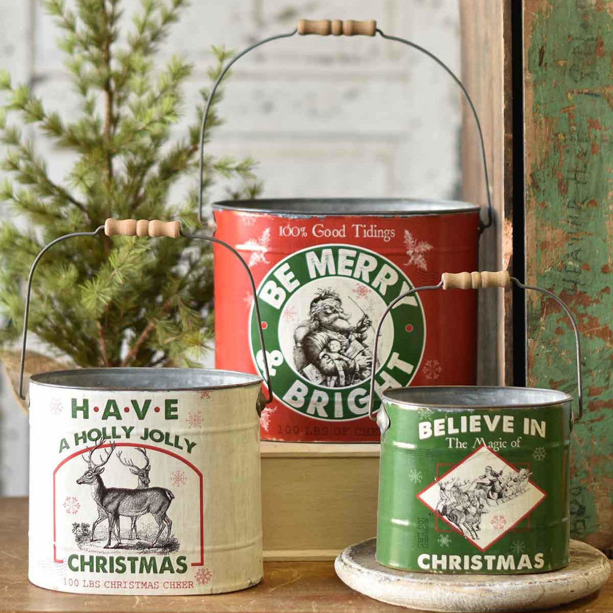 Vintage Style Christmas Bucket-Seasonal-A Cottage in the City