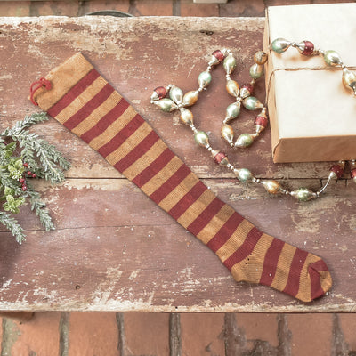 Antiqued Red Striped Wool Stocking