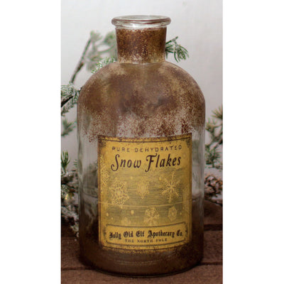 Antiqued Glass Snowflakes Apothecary Jar