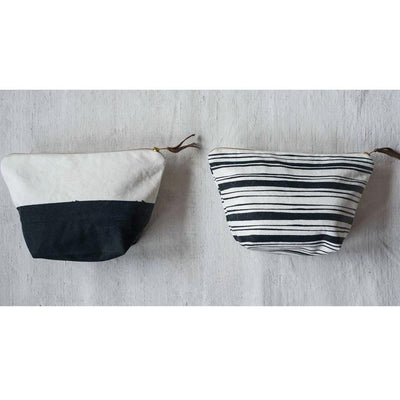 Black & White Cotton Zip Pouch