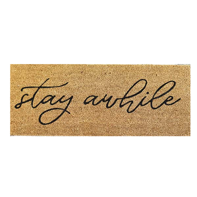 Stay Awhile Script Door Mat