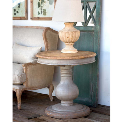 Vintage Wooden Pedestal Table-Furniture-A Cottage in the City
