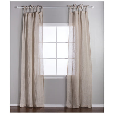 Linen Voile Tie Top Curtain Panel by Pom Pom at Home-Decor-Cream-A Cottage in the City